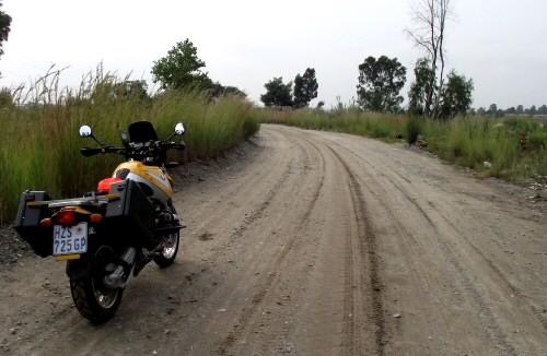 Old mine road. Motorbike route Main Reef road, Gauteng