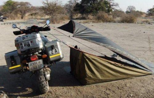 Motorbike stealth camper tent